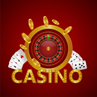 Goldener text des kasinos mit spielkarten und goldener münze
