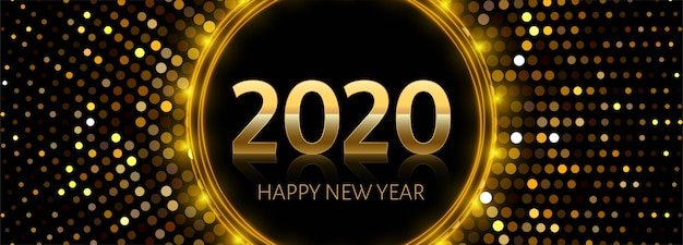 Goldener text des neuen jahres 2020 auf glänzendem