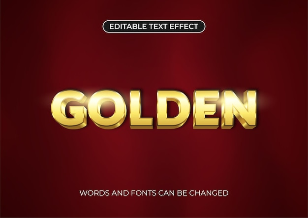 Goldener texteffekt. bearbeitbarer text mit glänzender blendung auf dunkelrotem hintergrund