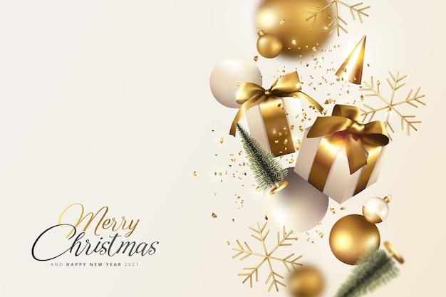 Goldener und cremefarbener realistischer weihnachtshintergrund