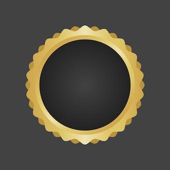 Goldener und schwarzer luxuriöser metallischer abzeichenschablonenvektor.