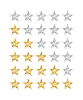 Goldener und silberner stern. 5 sterne bewertungssymbol.
