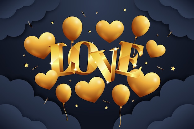 Goldener valentinstag hintergrund
