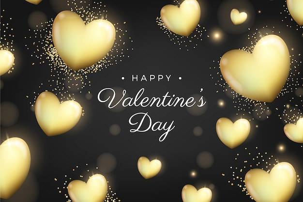 Goldener valentinstaghintergrund