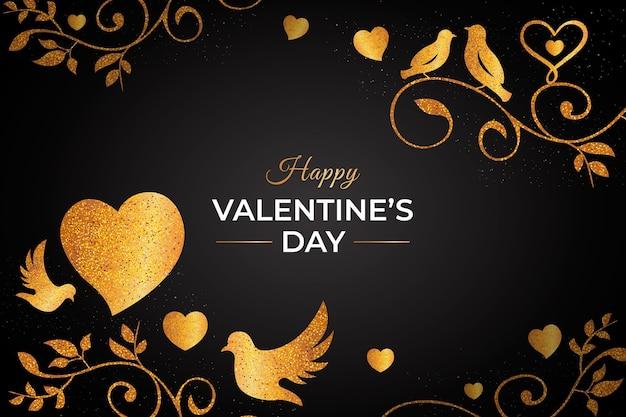 Goldener valentinstaghintergrund Kostenlosen Vektoren