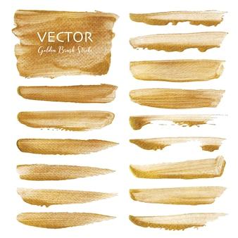 Goldener vektor pinselstrich