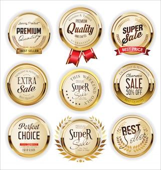 Goldener verkauf beschriftet retro- weinlesedesignsammlung