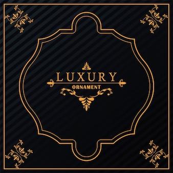 Goldener viktorianischer stil des luxusrahmens im schwarzen hintergrund