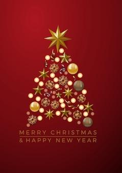 Goldener weihnachtsbaum der vektorabstrakten abdeckung, mit text auf rotem hintergrund