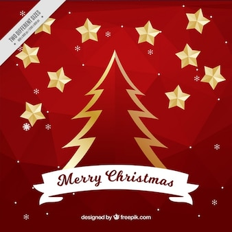 Goldener weihnachtsbaum hintergrund und sterne