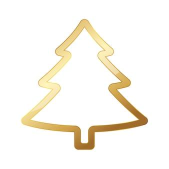 Goldener weihnachtsbaum lokalisiert auf weiß