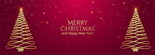 Goldener weihnachtsbaumgrußkartenfahnenhintergrund