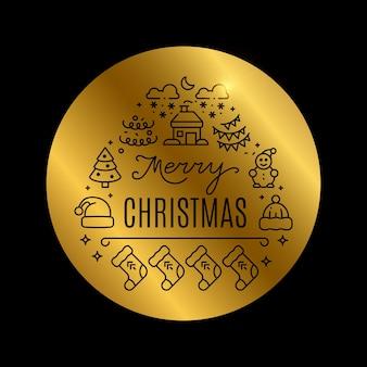 Goldener weihnachtshintergrund mit glanzeffekt lokalisiert auf schwarzer illustration