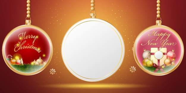 Goldener weihnachtskugelhintergrund