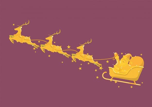 Goldener weihnachtsmann mit rentierschlitten