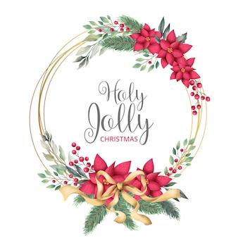 Goldener weihnachtsrahmen mit aquarell-blättern