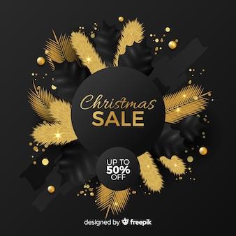 Goldener weihnachtsverkaufshintergrund