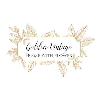 Goldener weinleserahmen mit blume