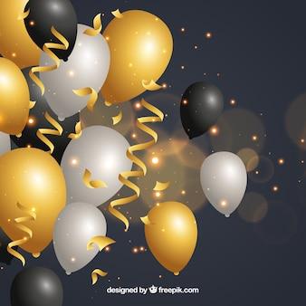 Goldener, weißer und schwarzer ballonhintergrund zu feiern