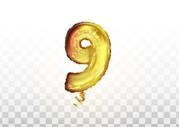 Goldener zahlenballon 9 neun. vektor realistischer 3d-gold glänzender charakter. isoliertes dekorationselement für party, geburtstag, jubiläum und hochzeit