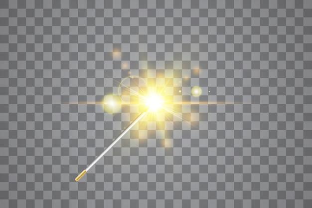 Goldener zauberstab. vektorillustration. isoliert.