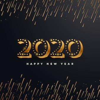 Goldenes 2020 guten rutsch ins neue jahr mit der feuerwerksillustration lokalisiert auf schwarzem