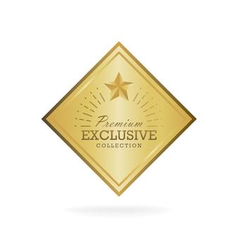 Goldenes abzeichen des exklusiven kollektionsverkaufs. gold-label-vektor-illustration.