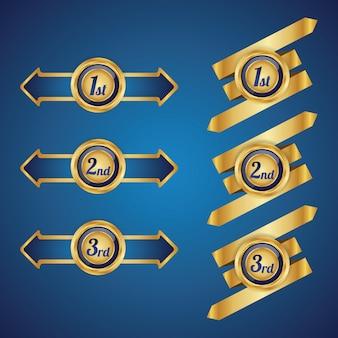 Goldenes abzeichen mit band mit noten