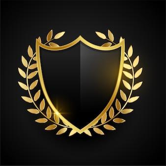 Goldenes abzeichen oder schild mit goldenen blättern