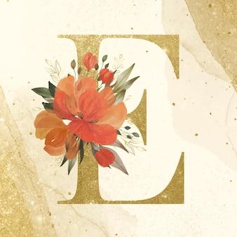 Goldenes alphabet e mit aquarell-blumendekoration für branding und hochzeitslogo