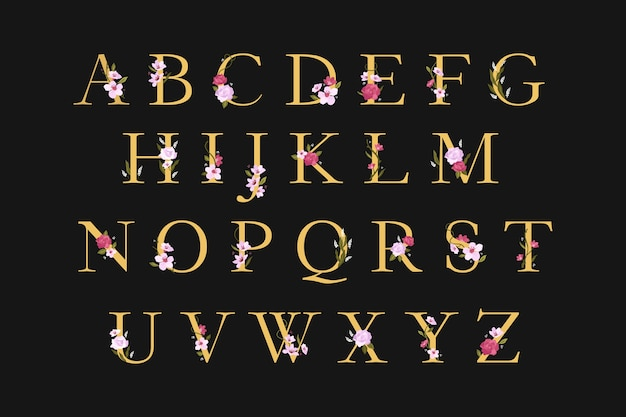 Goldenes alphabet mit eleganten blumen