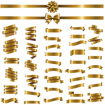 Goldenes band set auf weiß