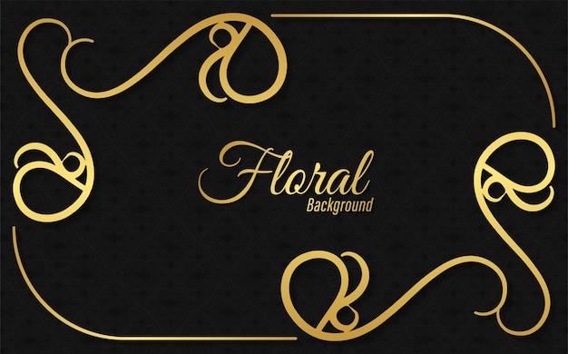 Goldenes bannerdesign mit blumenhintergrund