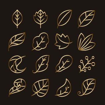 Goldenes blatt linie icon-set