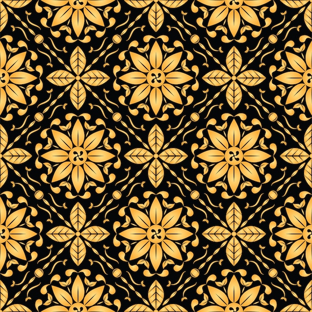 Goldenes blumenmuster der weinlese nahtlos auf schwarzem hintergrund