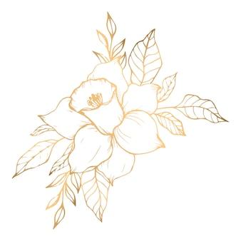 Goldenes bouquet mit narzisse und blüte aus goldenen blättern
