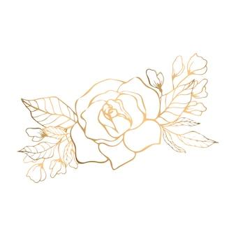 Goldenes bouquet mit rose und blüte aus goldenen blättern Premium Vektoren