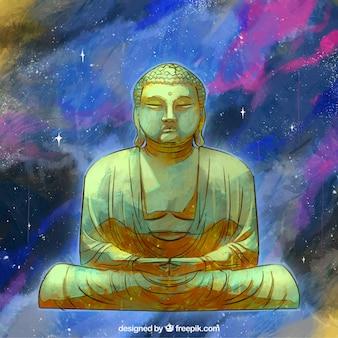 Goldenes budha mit hand gezeichneter art