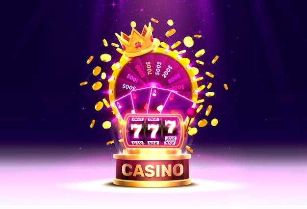 Goldenes buntes glücksrad des kasinos, neon-spielautomat