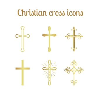 Goldenes christliches kreuz gesetzt