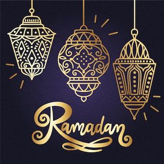 Goldenes design des ramadan-hintergrunds