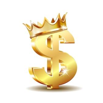 Goldenes dollarsymbol mit der goldenen krone lokalisiert auf weißem hintergrund. vektor-illustration.