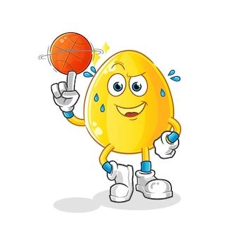 Goldenes ei, das basketballmaskottchen spielt. cartoon maskottchen maskottchen