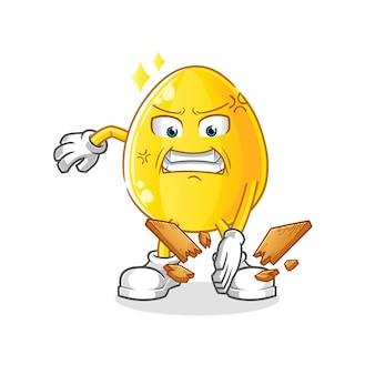 Goldenes ei karate maskottchen. karikatur