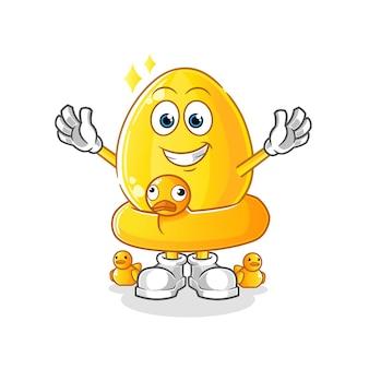 Goldenes ei mit entenbojenkarikaturmaskottchen. cartoon maskottchen maskottchen