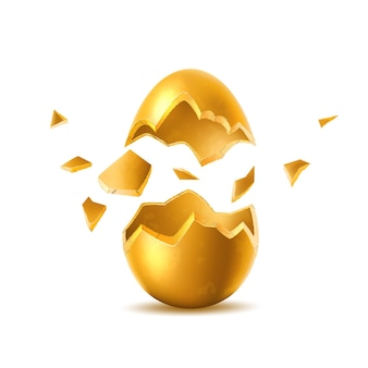 Goldenes ei mit gebrochenem explodiertem eierschalen-osterfeiertagssymbol