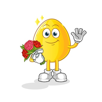 Goldenes ei mit strauß maskottchen. karikatur