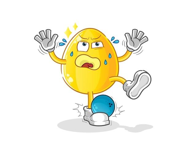 Goldenes ei von bowling cartoon getroffen. cartoon maskottchen
