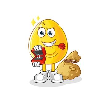 Goldenes ei vorschlagen und ringcharakter halten. cartoon maskottchen
