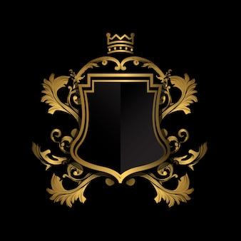 Goldenes emblem auf schwarzem hintergrund